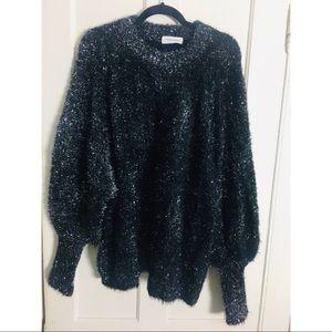 Goodnight macaroon black tinsel sweater small